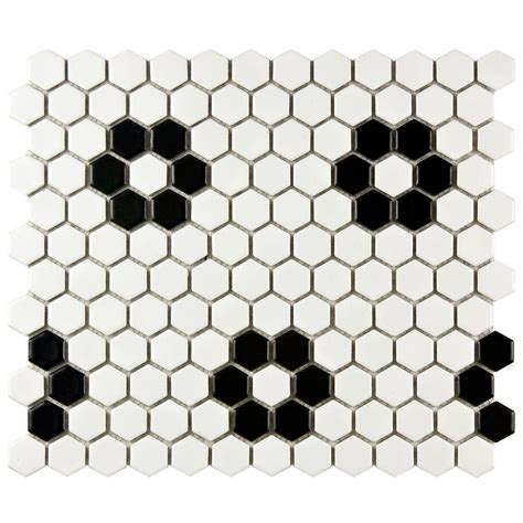 Home Depot Merola Hex Tile by Merola Tile Metro Hex Matte White With Flower 10 1 4 In X