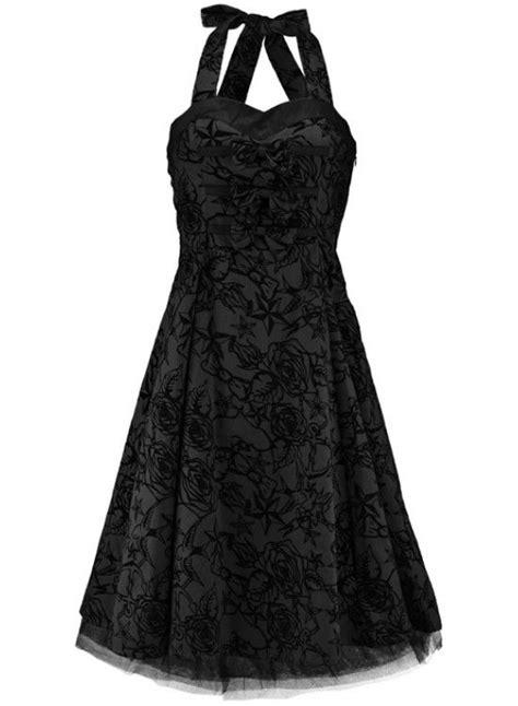 Rockabilly wedding Dresses   Black Flocked Halter Dress