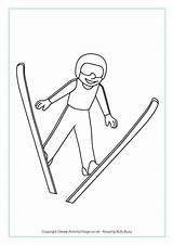Ski Jumping Colouring Winter Olympics Olympic Sports Coloring Skiing Pages Olympische Crafts Preschool Printable Games Activities Skating Freestyle Winterspiele Activityvillage sketch template
