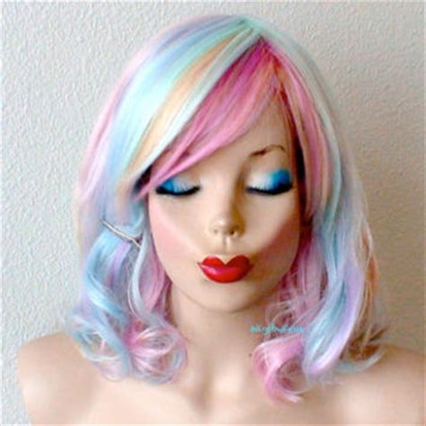 pastel colored wigs shop pastel rainbow wig on wanelo