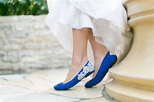 wedding shoes bridal ballet flats cobalt blue wedding With flats with wedding dress