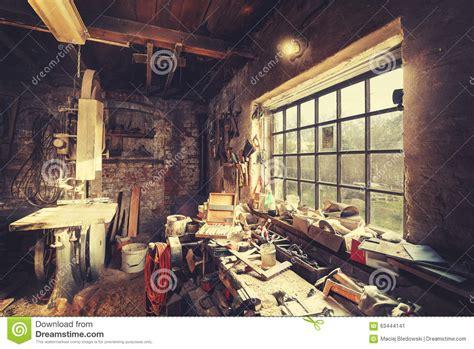 vintage stylized  carpenter workshop interior stock