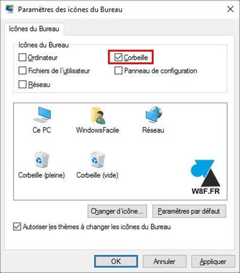 plus de corbeille sur le bureau windows 10 remettre l 39 icône de la corbeille sur le