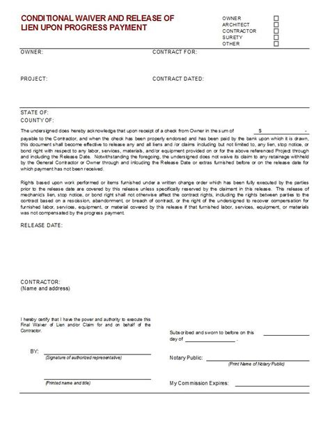 Bill Of Sale Form Conditional Waiver Of Lien Forms Conditional Lien Waiver Form Pike Productoseb Co