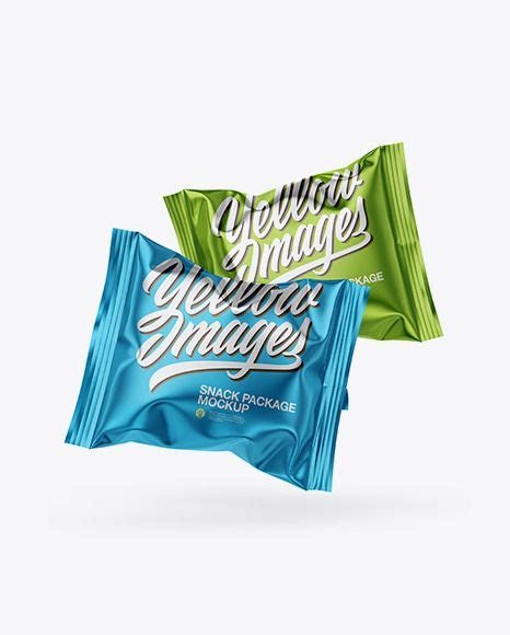 Subscribe to our free mailing list for freebies and more! Two Metallic Snack Packages Mockup in Flow-Pack Mockups on ...
