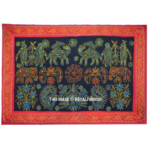 Multicolor Embroidered Animal Birds Fabric Wall Hanging