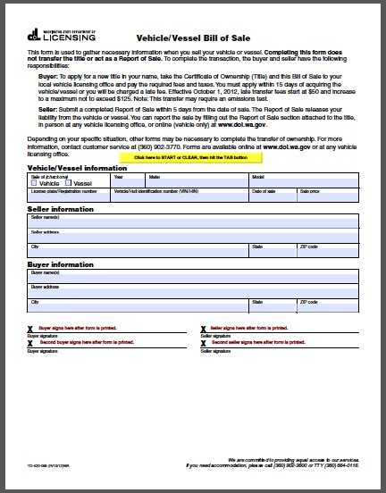 Vehicle Bill Of Sale Template Fillable Pdf Washington Vehicle Bill Of Sale Form Free Fillable Pdf