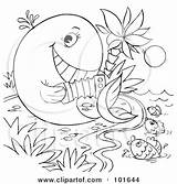 Whale Coloring Outline Accordion Clipart Playing Alex Royalty Fish Illustration Bannykh Rf Illustrations Fis Clipartof sketch template