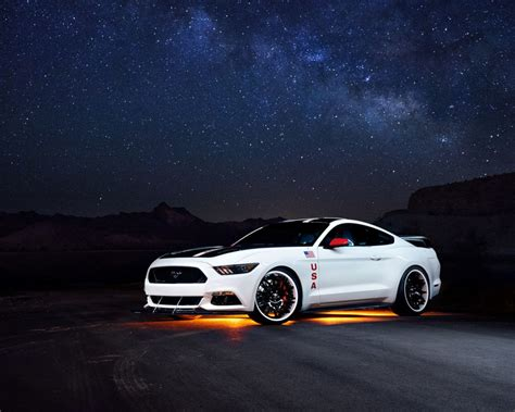 white mustang ford night hd wallpaper hd latest wallpapers