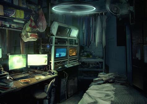 horror themed home a in a tiny cyberpunk apartment audio atmosphere