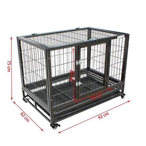 foxhunter heavy duty pet dog puppy training cage crate