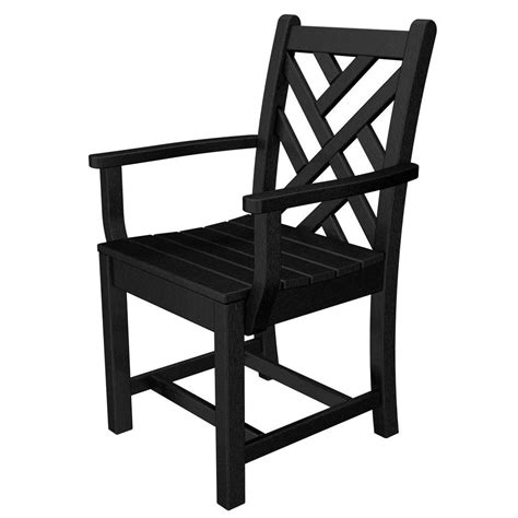 polywood chippendale black patio dining arm chair cdd200bl
