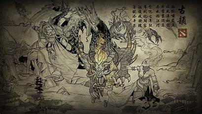 Chinese Painting Wall Wallpapers Drawing Illustration Wallpaperaccess