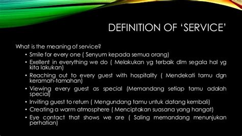Guest Services Definition by Food And Beverage