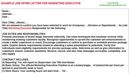 marketing executive offer letters