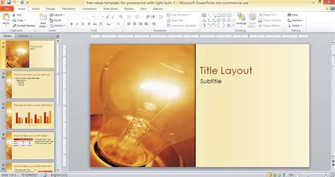 ideas template powerpoint light bulb