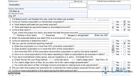 Form 41 Idaho Corporation Income Tax Return