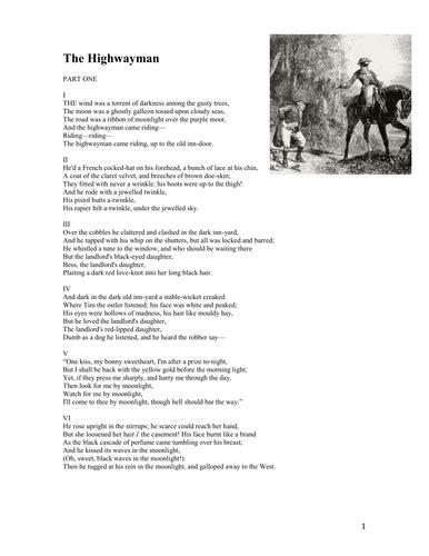 the highwayman worksheet by nicohl teaching resources tes