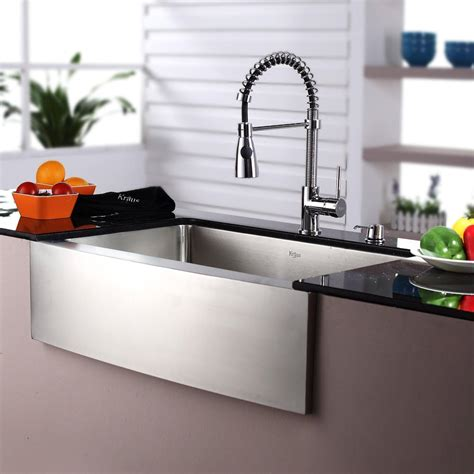 kraus khfkpfksdch   farmhouse single bowl stainless steel sink  pull