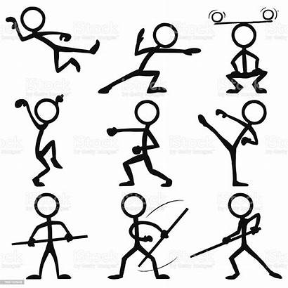 Stick Figure Poses Fu Kung Vector Figures