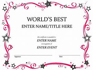Free Certificate Template Free Printable Award Certificate Template Word Helloalive