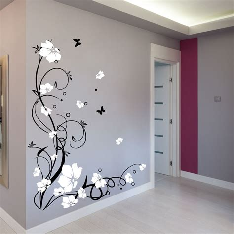 Ebay Wall Decor Uk by Large Butterfly Vine Flower Wall Stickers Wall Decals Ebay