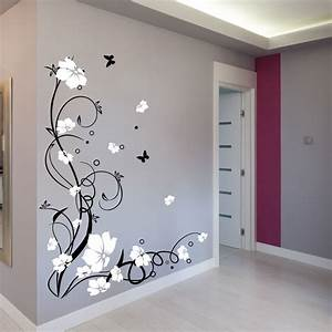 large flower butterfly vine wall stickers wall decals With stickers for walls