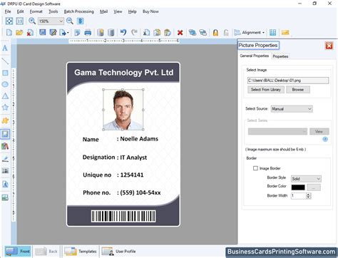 id cards designing software screenshots    create