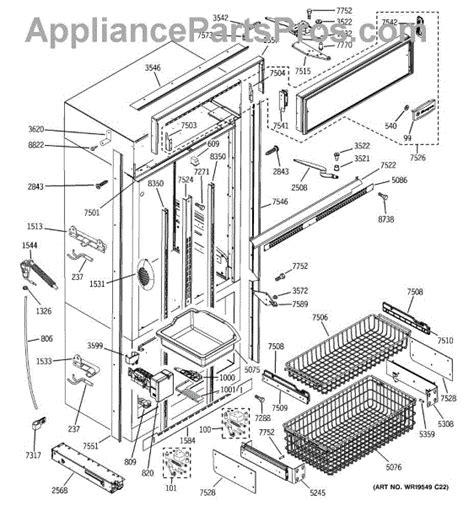 parts  ge zicsnxbrh freezer section trim components parts appliancepartsproscom