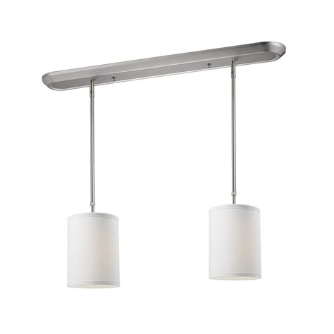 brushed nickel kitchen island lighting shop z lite albion 6 in w 2 light brushed nickel kitchen 7969