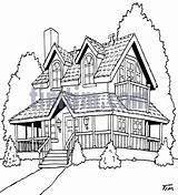 Houses Garden American Drawing Porch Drawings Cartoon Tools Timtim Around Wrap Porches Building Bw2 Terrace Dollhouse Visit Painting Roof Yard sketch template