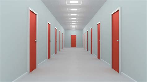 Corridor & Hallway : Hallway With Red Doors. Animation Of Camera Moving Through