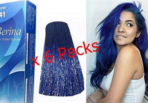 Pack Of 6 Boxes Berina Blue Hair Dye A41 Hair Color Cream