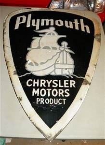 $OLD Early Plymouth Diecut Porcelain Sign w