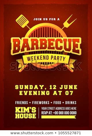 barbecue poster flyer template invitation design stock