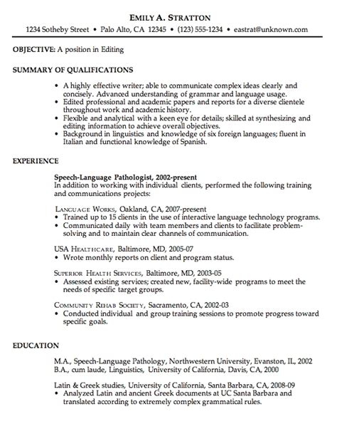 Resume Wording For Objective resume exles objective line for professional with 23