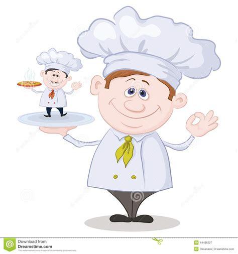 cuisine petit chef cuisinier de bande dessinée et petit chef avec la pizza