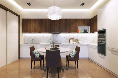cuisine conviviale salle à manger design dans un petit appartement de ville