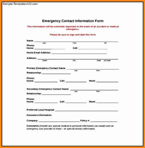 Contact Form Template Employee Emergency Contact Form Template Hunecompany