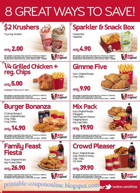 printable coupons  kfc coupons