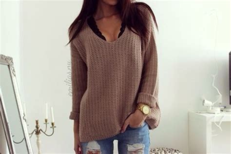 Tumblr Clothes Wearing A Brown Grey Beige Beige Sweater