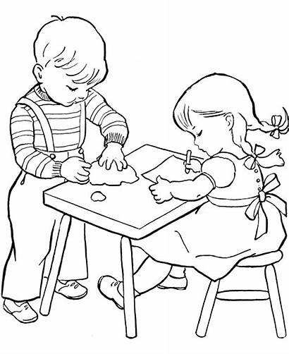 Coloring Working Child