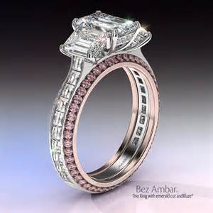 Three Stone Princess And Pink Sapphire Engagement Ring