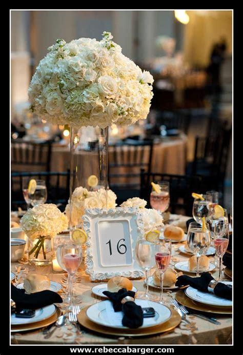 white  gold wedding centerpieces