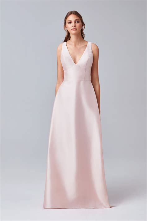 v neck mikado bridesmaid dress with side pleats f19734