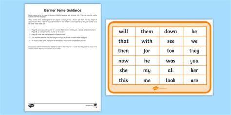 phase 3 high frequency words counters barrier worksheet