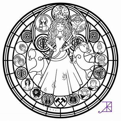 Stained Disney Glass Coloring Pages Merida Line