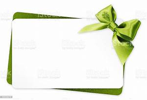 Gift, Card, With, Green, Ribbon, Bow, Isolated, On, White