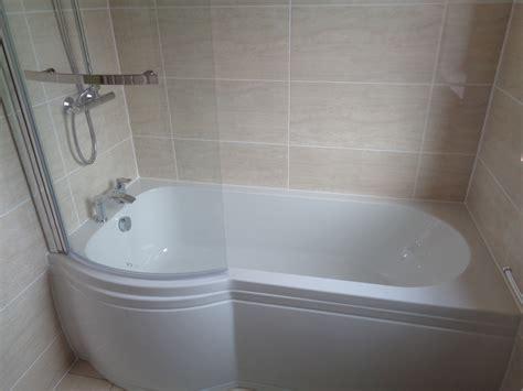 remove corner bath  fit p shaped shower bath