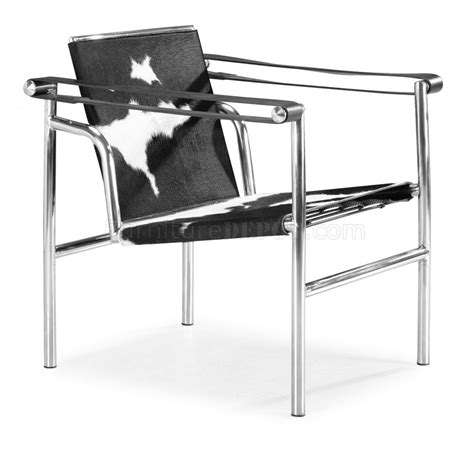 le corbusier style black white pony genuine leather chair